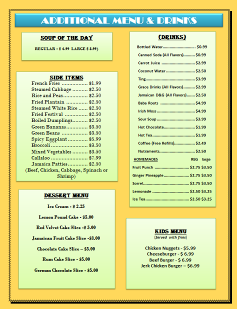 Additional Menu and Drinks
